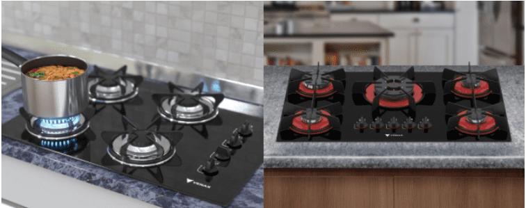 Dois modelos lindos de cooktop, um todo preto e outro em vermelho e preto