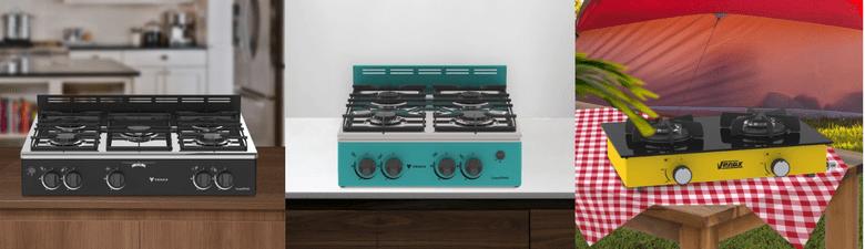 Três modelos super práticos de fogões de Bancada da Venax: preto, verde e amarelo