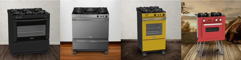 Cinco modelos modernos de fogões de piso da Venax: preto, cinza, amarelo e vermelho