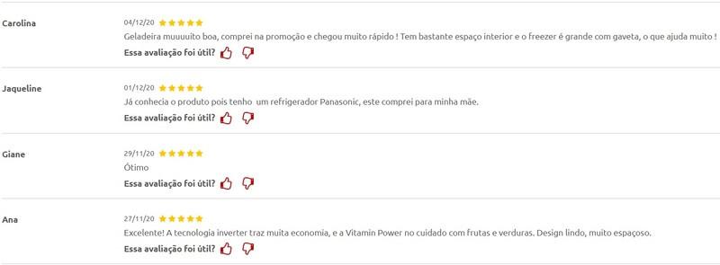 Comentários clientes Panasonic