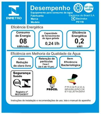 Selo Inmetro Purificador de água da Electrolux PE11B