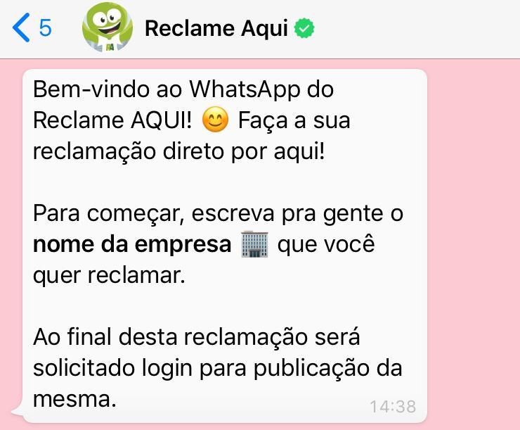 WhatsApp do Reclame Aqui